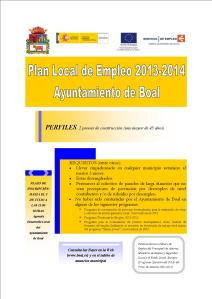 Cartel Boal Plan Local de Empleo 2013-2014